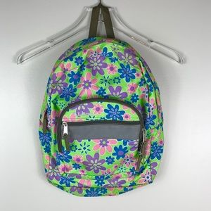 LL Bean Kids' School Backpack Green & Pink Floral